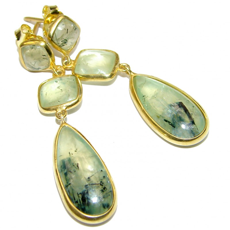 Authentic Moss Prehnite Gold over .925 Sterling Silver handmade stud earrings