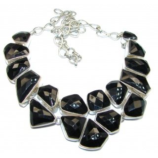 Huge Great Magestic Onyx .925 Sterling Silver handcrafted Necklace