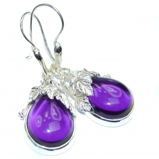 Authentic pure Perfection Amethyst .925 Sterling Silver handmade earrings