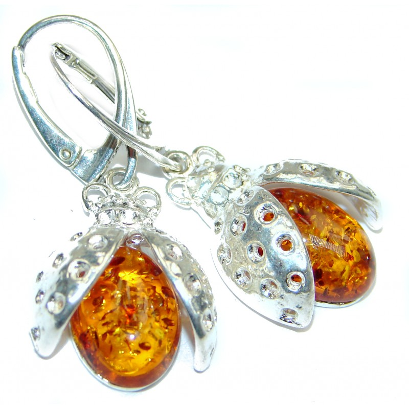 Lucky Ladybug Baltic Amber .925 Sterling Silver handcrafted Earrings