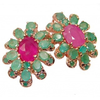 Spectacular genuine Ruby Emerald 18K Gold over .925 Sterling Silver handcrafted Statement earrings