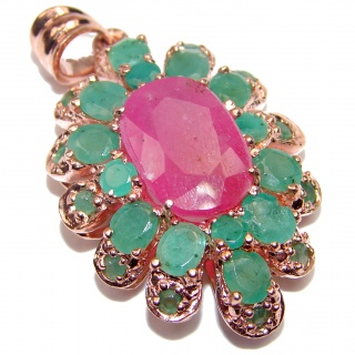 Spectacular Genuine Ruby Emerald 18K Gold over .925 Sterling Silver handmade Pendant