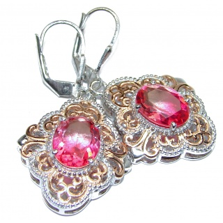 Pink Tourmaline color Topaz 14K Gold over .925 Sterling Silver entirely handmade earrings