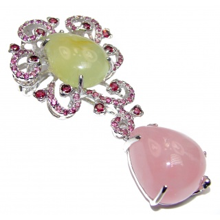 Oversized Rose Quartz Ruby Prehnite .925 Sterling Silver handcrafted Pendant- PIN