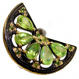 Huge Genuine Peridot 18K Gold over .925 Sterling Silver handcrafted Statement Ring size 8