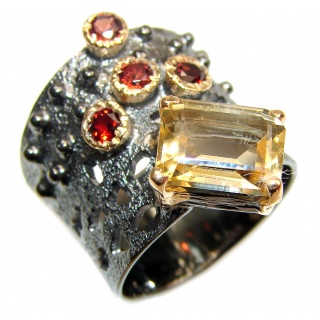 Vintage Style 9ct Natural Citrine 14ct Gold over .925 Sterling Silver handcrafted Ring s. 6 1/2