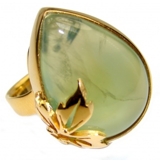 Natural Moss Prehnite 18K Gold over .925 Sterling Silver handmade ring s. 7 adjustable
