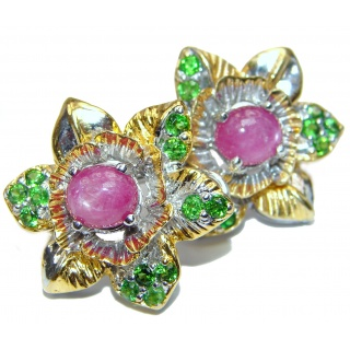 Spectacular genuine Ruby Emerald 18ct Gold over .925 Sterling Silver handcrafted Statement earrings