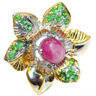 LARGE Genuine Ruby Emerald 18K Gold over .925 Sterling Silver handmade Cocktail Ring s. 8 1/4