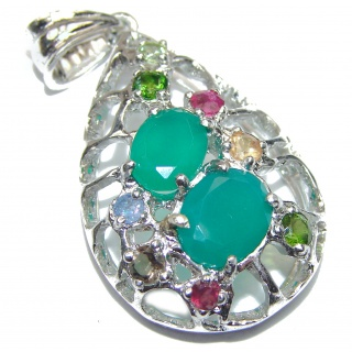 Spectacular Genuine Emerald .925 Sterling Silver handmade Pendant