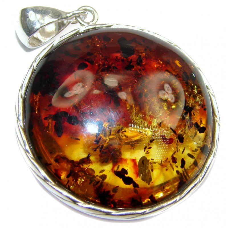 Large Golden Moon Natural Baltic Amber .925 Sterling Silver handmade Pendant
