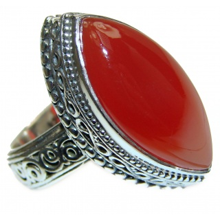 LARGE Genuine Carnelian .925 Sterling Silver handmade Ring Size 8