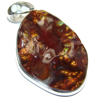 Large Best Quality Authentic Fire Agate .925 Sterling Silver handmade Pendant