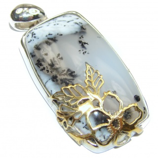 Perfect quality Dendritic Agate 18K Gold over .925 Sterling Silver handmade Pendant