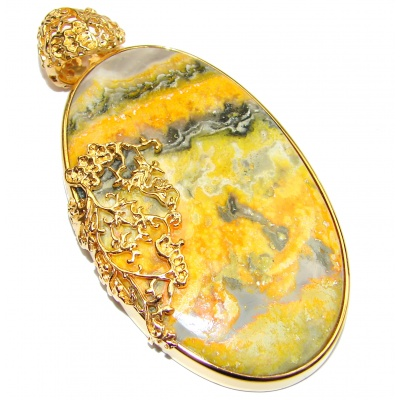 Huge Authentic Volcanic Bubble Bee Jasper 18K Gold over .925 Sterling Silver handmade Pendant