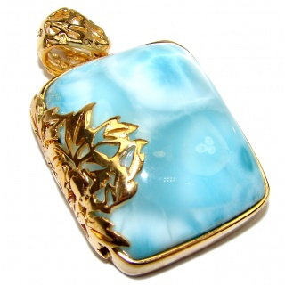 Truly Divine Creation Authentic Caribbean Larimar 18K Gold over .925 Sterling Silver handmade pendant