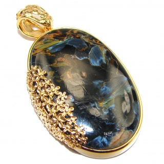 Huge Genuine Silky Black Pietersite 18K Gold over .925 Sterling Silver handmade pendant