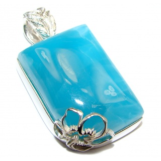 Truly Divine quality Authentic Caribbean Larimar .925 Sterling Silver handmade pendant