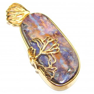 Perfection Authentic Australian Boulder Opal 18K Gold over.925 Sterling Silver handmade Pendant