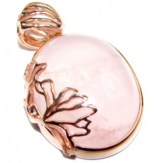 Beautiful genuine Rose Quartz 18K Rose Gold over .925 Sterling Silver handcrafted Pendant