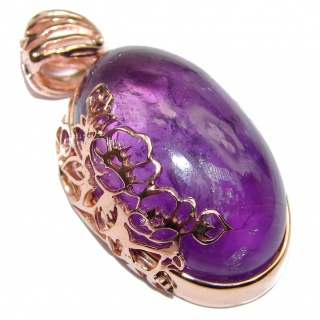 Authentic Amethyst 24K Gold over .925 Sterling Silver handcrafted pendant