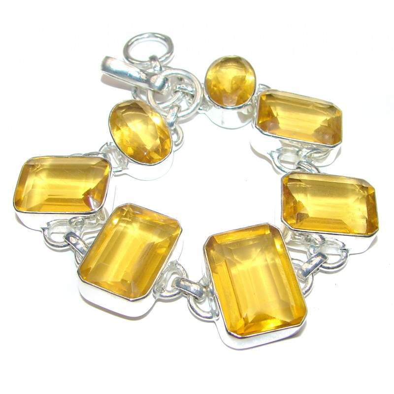 Get Glowing Sunny Quartz .925 Sterling Silver handcrafted Bracelet