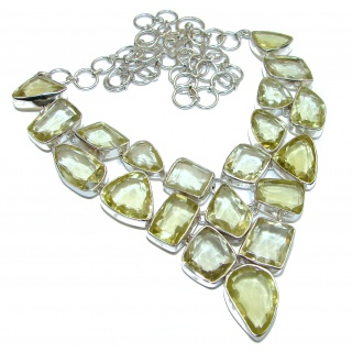 Huge Nature inspired Citrine .925 Sterling Silver handmade necklace