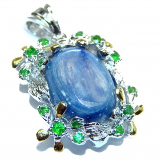 Beautiful genuine Kyanite Chrom Diopside .925 Sterling Silver handcrafted Pendant