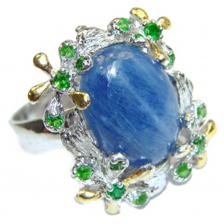 Huge Natural 26ct Kyanite Chrome Diopside .925 Sterling Silver Statement ring size 8