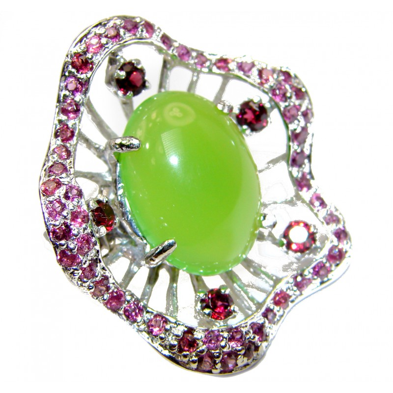 Spectacular Natural Jade Garnet .925 Sterling Silver handmade Statement ring s. 8