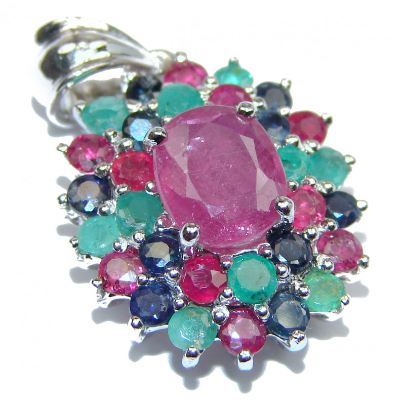 Spectacular Genuine Ruby Emerald Sapphire .925 Sterling Silver handmade Pendant