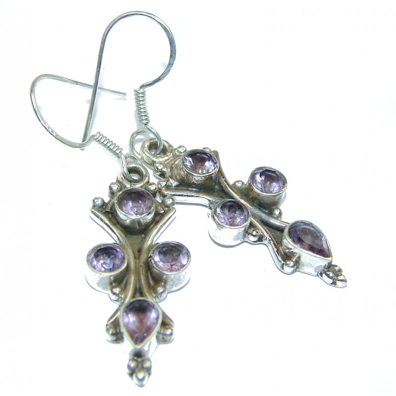 Genuine Pink Amethyst .925 Sterling Silver handmade Earrings