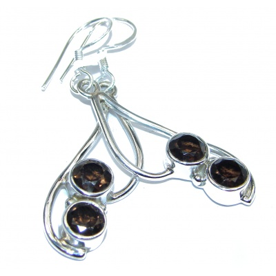 Authentic Smoky Topaz .925 Sterling Silver handmade earrings