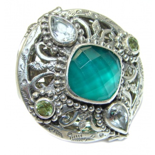 Energazing Green Agate .925 Sterling Silver handmade Poison Ring size 5 1/4