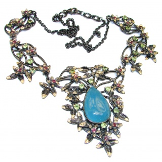 Secret Beauty authentic Aquamarine 18K Gold over .925 Sterling Silver handcrafted necklace