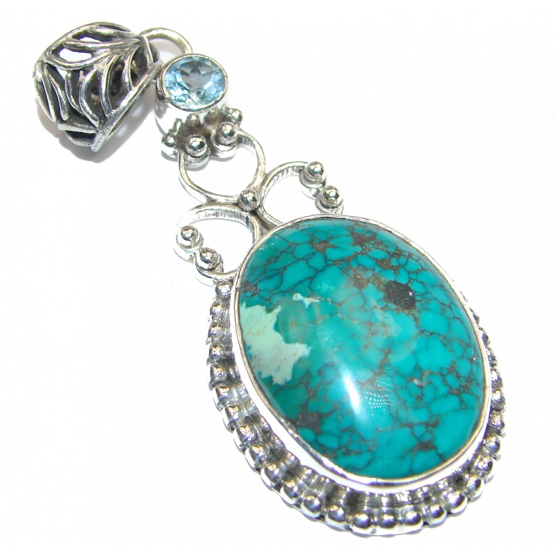 HUGE Exquisite Turquoise .925 Sterling Silver handmade Pendant