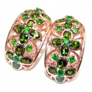 Authentic Chrome Diopside 24K Gold over .925 Sterling Silver handmade earrings