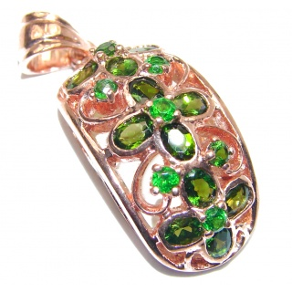 Authentic Chrome Diopside 24K Rose Gold over .925 Sterling Silver Pendant