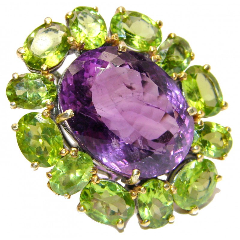 Large Genuine Amethyst Peridot .925 Sterling Silver handcrafted Statement Ring size 7 1/4