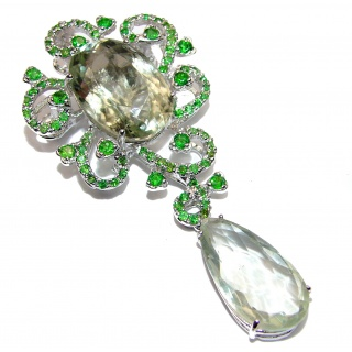 Oversized Green Amethyst Chrome Diopside .925 Sterling Silver handcrafted Pendant- Pin