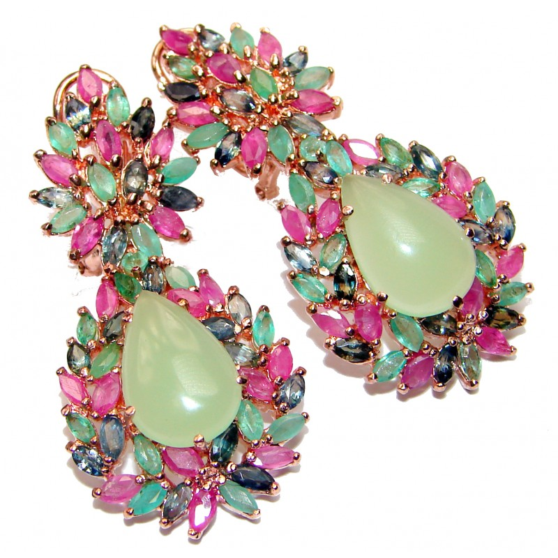 Juicy Authentic Prehnite Emerald Ruby 18K Gold over .925 Sterling Silver handmade earrings