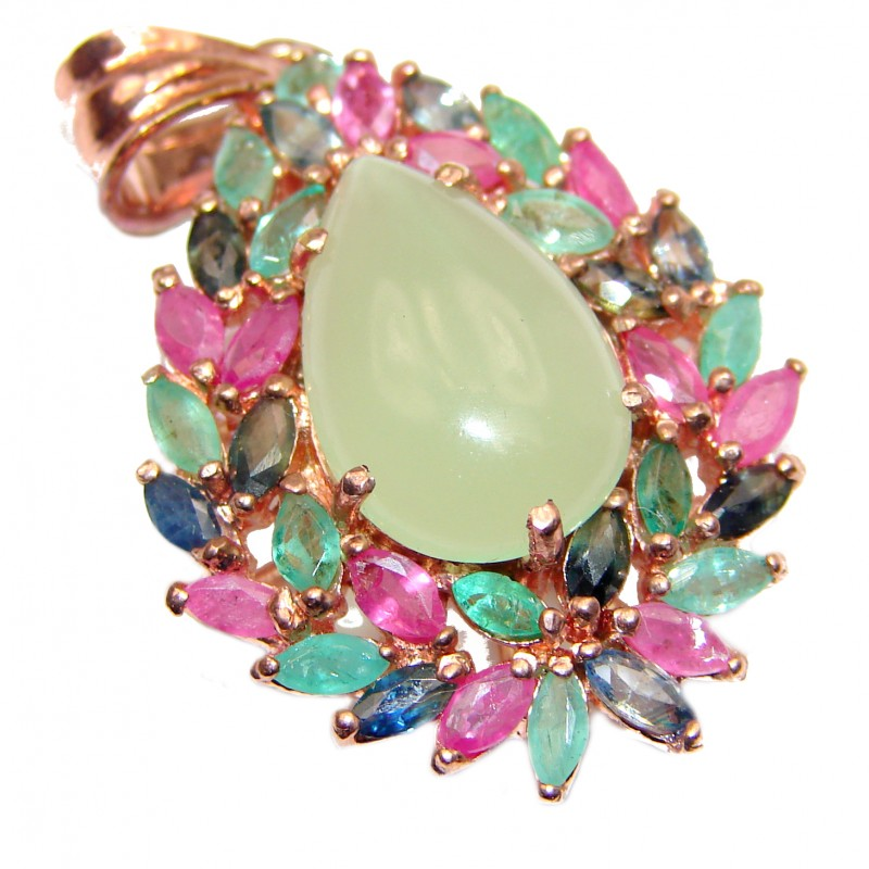 Natural Prehnite Ruby Sapphire 24K Gold .925 Sterling Silver handmade Pendant