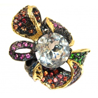 Stylish White Topaz black Rhodium & Gold over .925 Sterling Silver Statement Ring s. 9