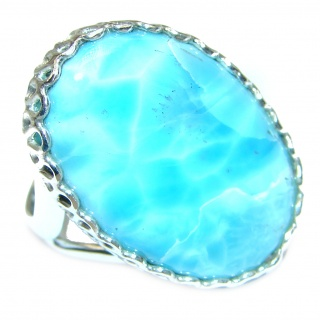 Vintage Design Natural Larimar .925 Sterling Silver handcrafted Ring s. 8 1/2