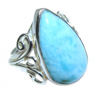 Vintage Design Natural Larimar .925 Sterling Silver handcrafted Ring s. 7 3/4