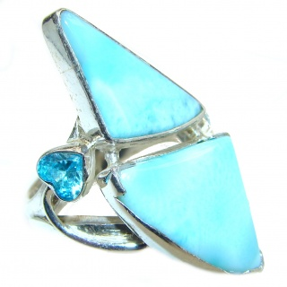 Natural Larimar .925 Sterling Silver handcrafted Ring s. 6