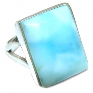 Natural Larimar .925 Sterling Silver handcrafted Ring s. 7 1/4