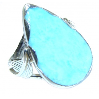 Natural Larimar .925 Sterling Silver handcrafted Ring s. 8 1/4