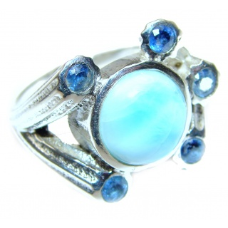 Vintage Design Natural Larimar .925 Sterling Silver handcrafted Ring s. 8 1/4