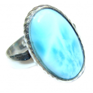 Vintage Design Natural Larimar .925 Sterling Silver handcrafted Ring s. 6